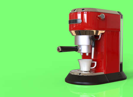 A red espresso coffee machine on green background with space for text. 3D render.