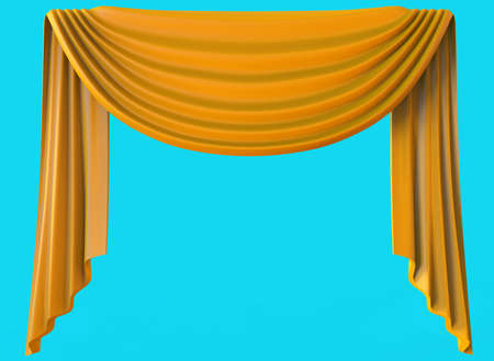 Yellow curtain isolated on blue background. 3D illustration