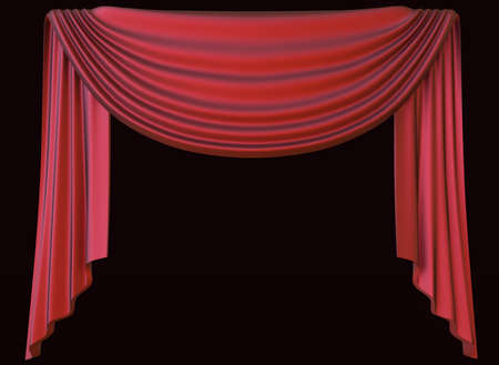 Red theater curtain isolated on dark background. 3D illustration