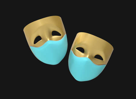 Theater masks, drama and comedy on medical masks on a dark background. 3D image. 版權商用圖片
