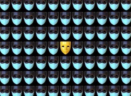Masks, wearing and not wearing medical masks. 3d rendering