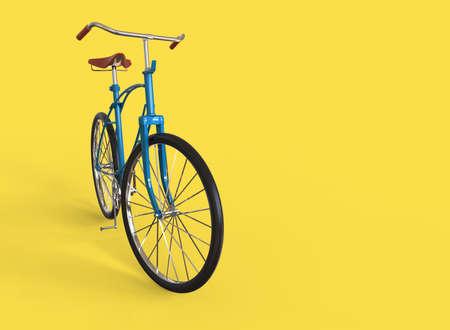 Blue bike isolated on yellow background. 3D illustration