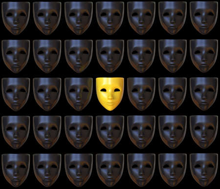 A repeating pattern of sad and one happy mask. 3D illustration