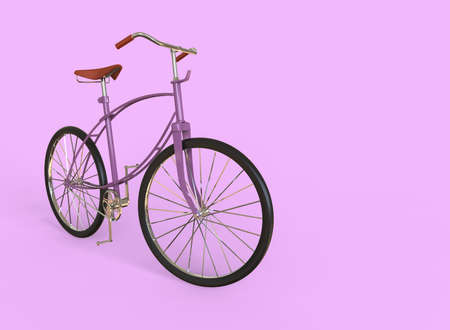 Lilac bike isolated on pink background. 3D illustration