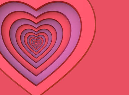 Red heart. Background for a greeting card. 3D render