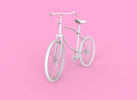 White bike isolated on pink background. 3D illustration