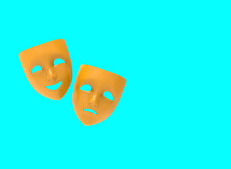 Drama and comedy theatrical masks isolated on blue background. 3D image.