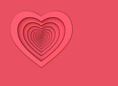 Red heart. Background for a greeting card. 3D illustration