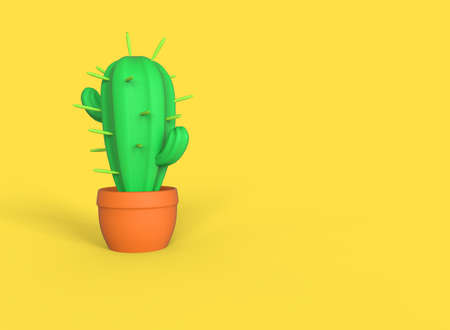 Stylized cartoon cactus isolated on yellow background. 3D illustration.