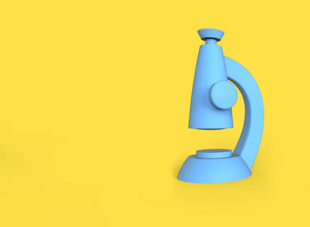 Stylized cartoon microscope isolated on a yellow background. 3D illustration.