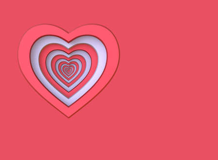 Red and white heart. Background for a greeting card. 3D render