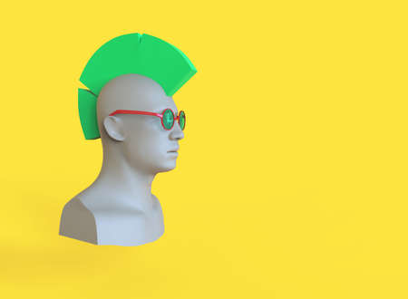 Male mannequin head with green hair mohawk. 3d render minimal illustration
