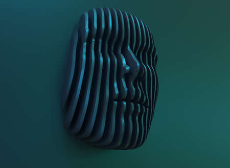3D illustration. Digital abstract portrait, face divided into thin stripes. Artificial Intelligence