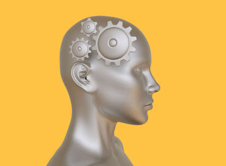 Symbolic abstract 3D image of a man with gears in his head.