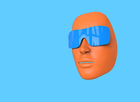 Minimalistic 3D illustration. Woman's face with sunglasses on a blue background. Abstraction about summer and sunlight.