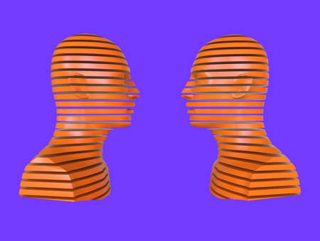 3D abstract illustration. Two people opposite each other. Minimal concept