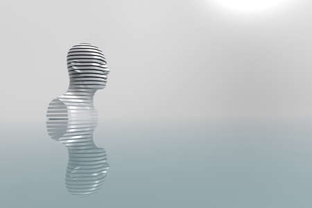 3D abstract illustration. Model of a man up to his chest on a blurred gray background. Minimal concept with free space for text.