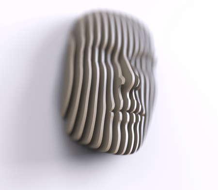 3D illustration. Digital abstract portrait, face divided into thin stripes. Digital technologies 版權商用圖片