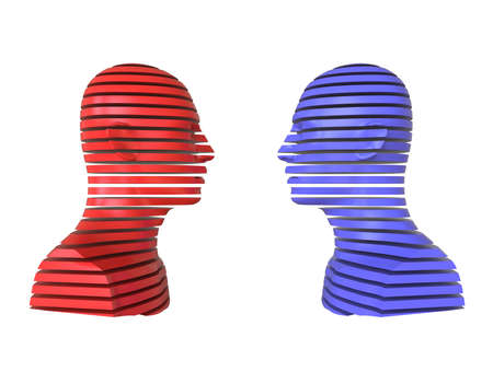3D abstract illustration. Two people opposite each other isolated on white background. Minimal concept