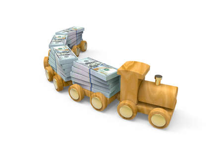 Symbolic 3D illustration. Wooden train with stacks of dollar bills isolated on white background.