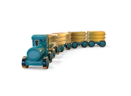 A train carrying gold bars. 3D allegorical illustration
