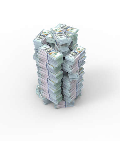3d illustration. Stack of dollar bills isolated on white background.