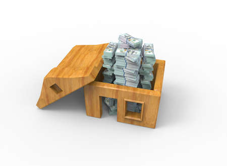 Symbolic 3D illustration. Stacks of dollar bills inside the house. 版權商用圖片