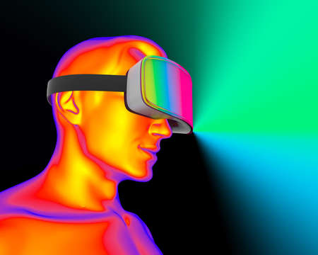 A man wearing augmented reality glasses on dark background. VR AR glasses. 3D concept of new technologies and technologies of the future.