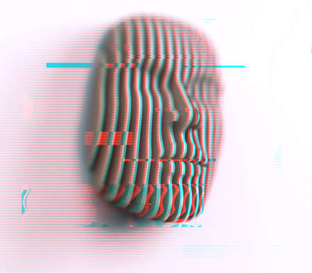 3D illustration. Digital abstract portrait, face divided into thin stripes with glitch effect on white background