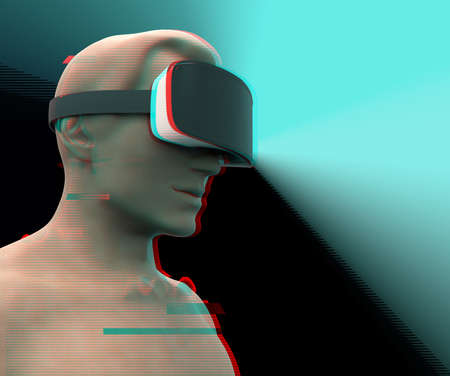 A man wearing augmented reality glasses. VR AR glasses. 3D concept of new technologies and technologies of the future with glitch effect.
