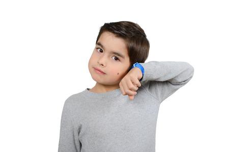 pass away: Boy is listening to the clocks Stock Photo
