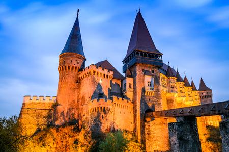 Legendary Corvin Castle in medieval Transylvania region of Romania, place of John Hunyad, the crusader. 에디토리얼