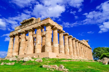 Selinunte ruins of greek temple in Sicily, Italy, Ancient Greece. 写真素材