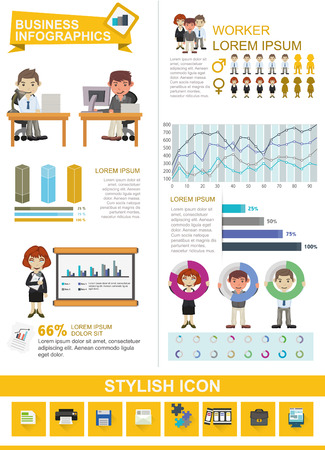 Set of element, icon and business people for your business infographics. Illusztráció