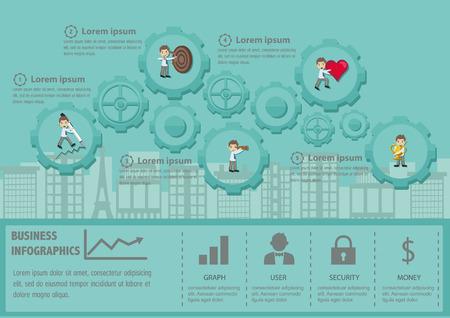 Way To Success infographic set with business avatars. Ilustração