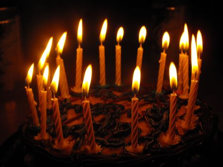 birthday Cake and candles photo