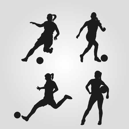 Illustration of silhouettes of women playing soccer. Vector of woman playing football. Illusztráció