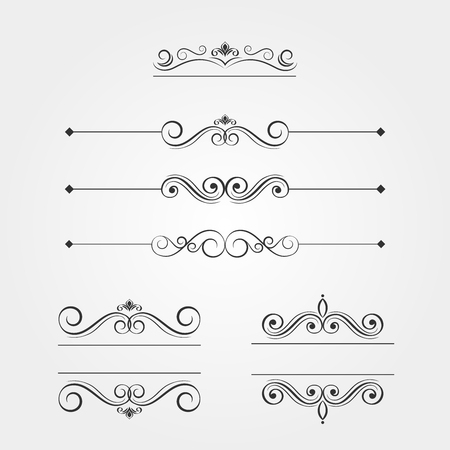 Set of elegant watermarks, vectorized filigree.