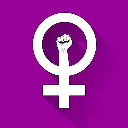 Female symbol with a raised fist, revindication of womens rights Illustration