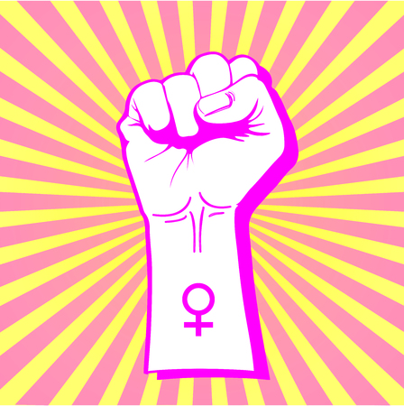Female symbol with a raised fist, revindication of womens rights 向量圖像