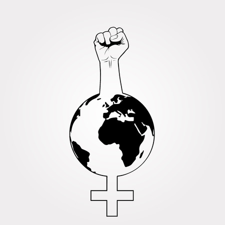 Female symbol with a raised fist, revindication of women's rights