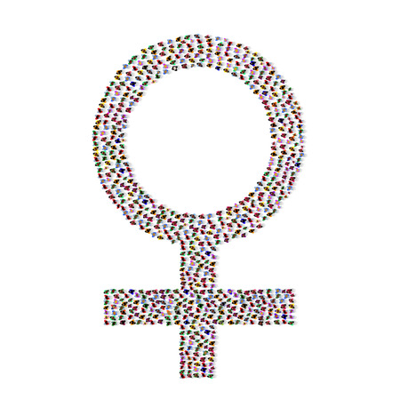Sign of the woman made with many people vector illustration  イラスト・ベクター素材