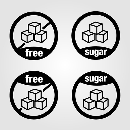 Sets of vectorized icons for food with sugar and sugar-free foods 向量圖像