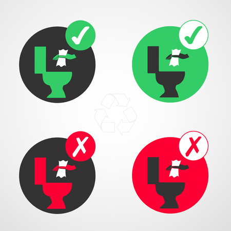 Signs to indicate can be thrown to the toilet, icon not to throw to the toilet. Vector illustration.