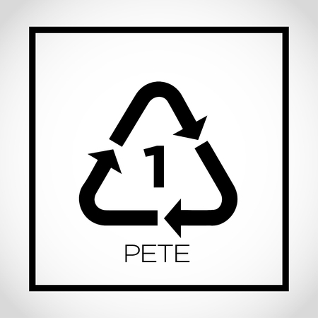 1 pete packaging label with triangle arrows, Vector illustration. Vectores