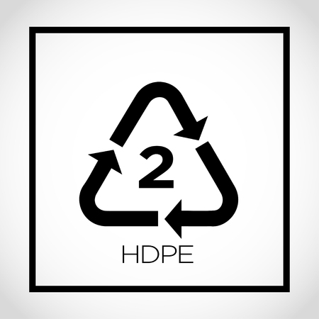 Arrows shaped into triangle with number 2 in the center and text HDPE. Vector illustration.
