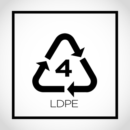 4 ldpe packaging label with triangle arrows Vector illustration.