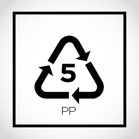 5 pp packaging label icon with triangle arrows Vector illustration.