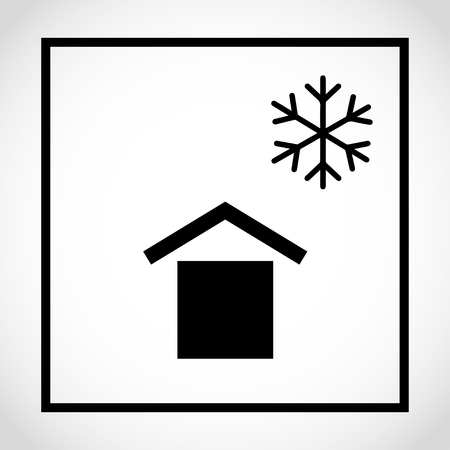 Protect from low temperatures packaging label icon Vector illustration. Vectores