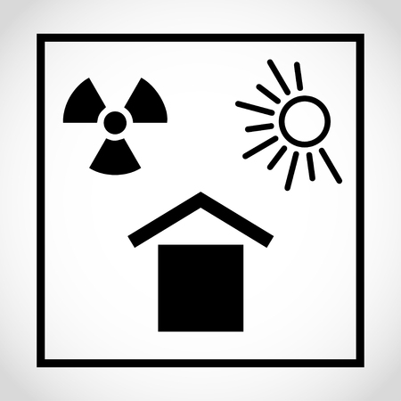 Protect from heat and radioactive sources icon on white background
